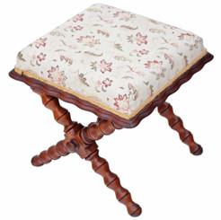 Antique early 20C x frame stool chair walnut oak beech