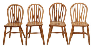Antique set of 4 Victorian C1900 ash, elm and beech kitchen dining chairs