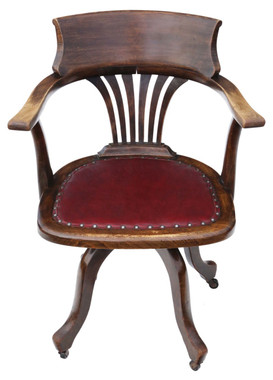 Antique beech swivel desk arm elbow chair C1900
