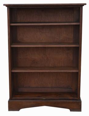 Antique quality large adjustable oak bookcase display shelves C1920