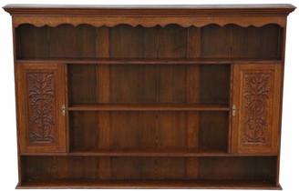Antique Victorian carved oak plate rack open shelves C1900 Art Nouveau