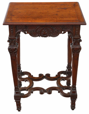 Antique Victorian Gothic quality carved walnut wine table side occasional