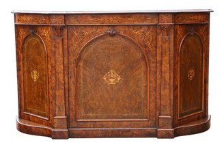 Antique large Victorian inlaid burr walnut credenza sideboard chiffonier