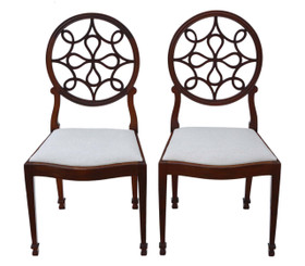 Antique fine quality pair of Georgian revival dining chairs C1920