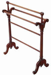 Antique quality Victorian C1890 mahogany towel rail stand