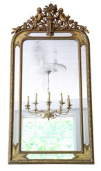 Antique 19th Century large Victorian gilt overmantle wall mirror