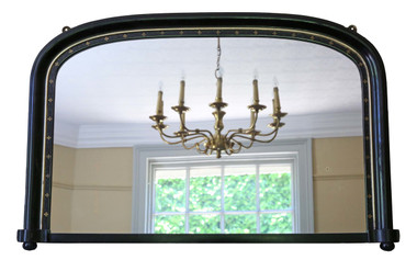 Antique large Victorian black lacquer overmantle wall mirror C1890