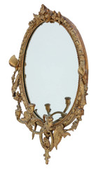 Antique early 19th Century large gilt girandole wall mirror