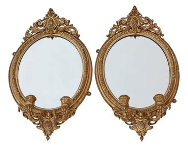 Antique pair early 19th Century gilt girandole wall mirrors
