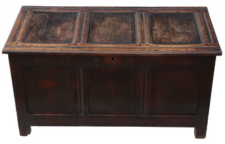 Antique 18th Century oak coffer or mule chest