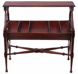Antique reproduction mahogany book or magazine trough bookcase