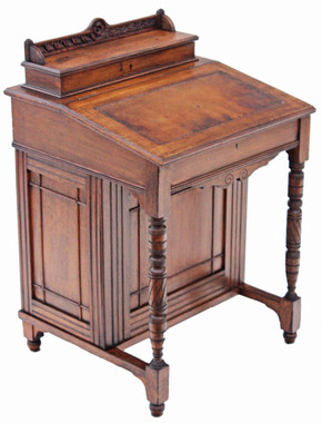 Antique quality Victorian 19C Gothic oak mahogany davenport writing table desk
