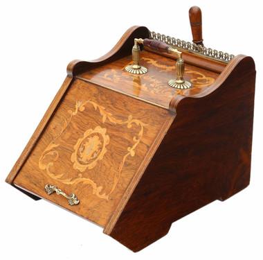 Antique quality Victorian C1880 inlaid rosewood coal scuttle box
