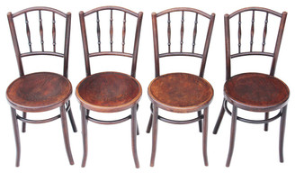 Antique set of 4 bentwood oak elm beech kitchen dining chairs