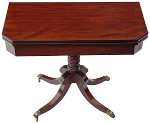 Antique quality 19C Georgian Regency mahogany pedestal folding tea card table