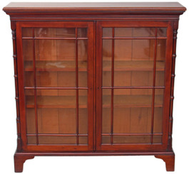 Antique quality 19C Victorian mahogany glazed bookcase cupboard shelves display