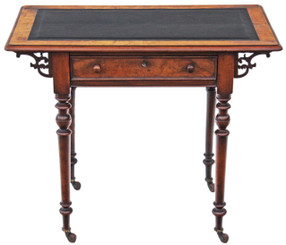 Antique quality Victorian 19C burr walnut writing table desk side occasional