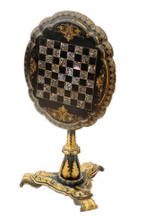 Antique Victorian 19C tilt top mother of pearl inlaid papier mache games table