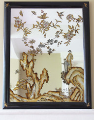 Antique large early 20C Chinoiserie wall mirror overmantle