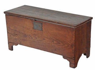 Antique small 19C elm chest coffer trunk coffee table ottoman