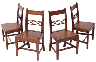 Antique quality set of 4 19C Georgian oak dining chairs