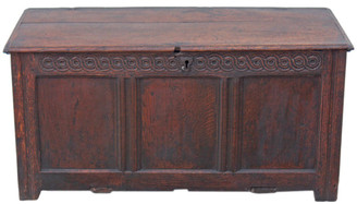 Antique Georgian 18C oak chest coffer trunk coffee table ottoman log basket