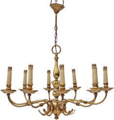 Antique large Flemish 10 lamp ormolu brass bronze chandelier FREE DELIVERY