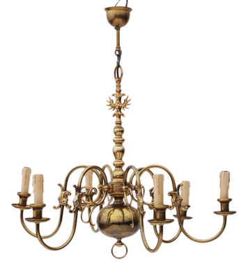 Antique large Flemish 6 lamp ormolu brass bronze chandelier FREE DELIVERY