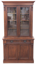 Antique Victorian 19C walnut chiffonier glazed bookcase cupboard dresser