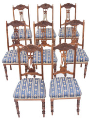 Antique set of 8 Edwardian satinwood beech dining chairs Art Nouveau