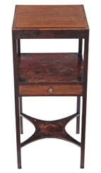 Antique Georgian mahogany 19th C bedside cupboard table cabinet washstand