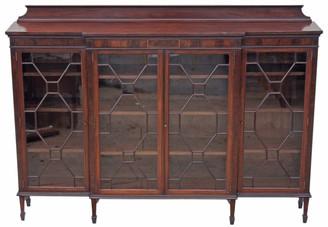 Antique large Edwardian mahogany breakfront glazed bookcase display cabinet