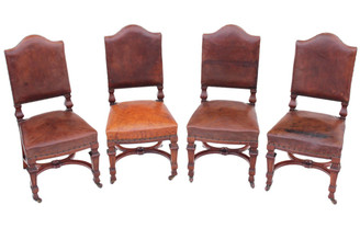 Antique set of 4 Victorian walnut leather dining chairs heavy solid