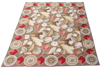 Antique large Oriental olive ground floral hand knotted Abusson wool rug