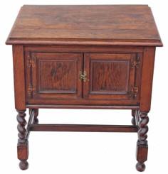 Antique heavy oak cupboard cabinet washstand TV sideboard barley twist