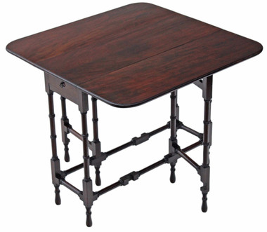 Antique quality mahogany spider Sutherland side occasional tea table