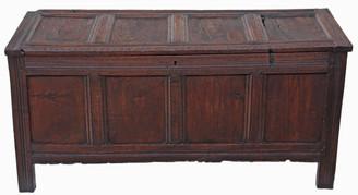 Antique large Georgian 18C oak mule chest coffer ottoman log basket