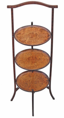 Antique pretty 3 tier Edwardian cake display stand walnut mahogany
