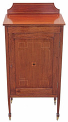 Antique Edwardian inlaid mahogany or red walnut cupboard cabinet music