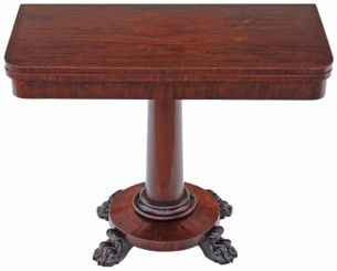 Antique Regency Victorian rosewood 19C folding card tea table console