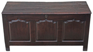 Antique large Georgian 18C 3 panel oak mule chest coffer ottoman log basket