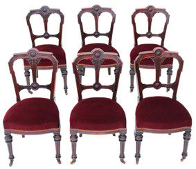 Antique set of 6 Victorian 19C Gothic mahogany walnut dining chairs