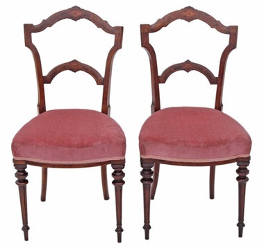 Antique pair of Victorian 19C inlaid walnut dining chairs side bedroom