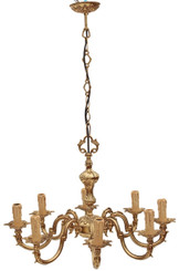 Antique large heavy 8 lamp ormolu brass bronze chandelier FREE DELIVERY