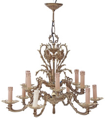 Antique birdcage bow 12 lamp ormolu brass bronze chandelier FREE DELIVERY