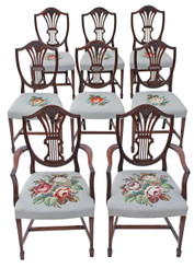 Antique set of 8 (6+2) Georgian revival mahogany needlepoint dining chairs