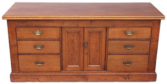 Antique large 19C Georgian and later oak dresser base sideboard