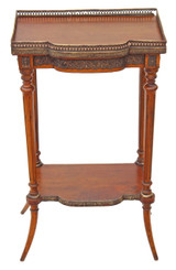 Antique Victorian walnut ormolu decorative side occasional table etagere