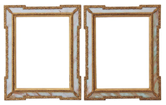 Antique pair of early 20C onyx and giltwood wall mirrors overmantle