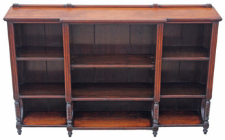 Antique large Victorian walnut breakfront open bookcase display cabinet